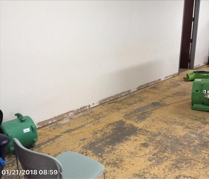 removed carpet, concrete floor, drilled holes in base of walls
