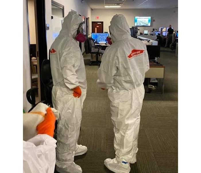SERVPRO of Point Pleasant in full hazmat to disinfect Ocean County Sheriff Communications Center