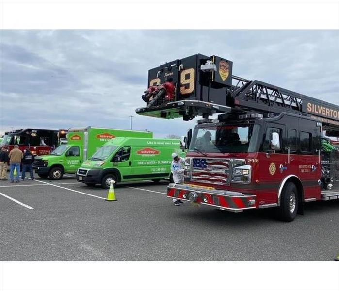 Silverton Fire Trcuks with SERVPRO of Point Pleasant crew and vehicles